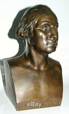 ANCIEN BUSTE de George WASHINGTON en BRONZE BARBEDIENNE CACHET A. COLLAS XIXème