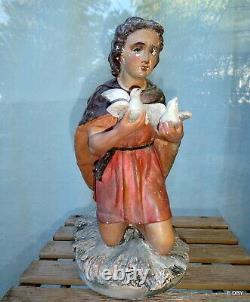 ANCIEN GRAND SANTON DÉGLISE BERGER agenouillé AUX COLOMBES HAUTEUR 37 cm