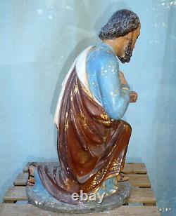 ANCIEN GRAND SANTON DÉGLISE en platre peint JOSEPH agenouillé HAUTEUR 46 cm