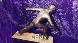 ANCIEN JOUEUR DE BOULE Lyonnaise en régule 1950, statuette, art déco, Lyon, sport