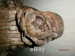 ANCIEN SOCLE EN BOIS CIRé/POUR STATUE RELIGIEUSE/CIRE/XVIII-XIXè/H. 39cm/39,5x25c