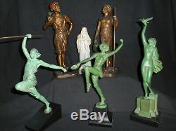 ANCIEN STATUE SCULPTURE FEMME à la COLOMBE PIERRE LE FAGUAYS FAYRAL oiseau 1930