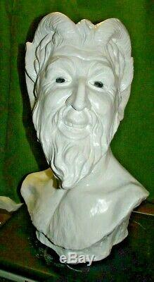ANCIEN grande statue buste SCULPTURE SATYRE SIGNé Pan faune PLATRE DIABLE FAUST