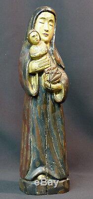 A vierge enfant statuette ancienne 37c1,3kg bois Jésus art sacré Dieu christ
