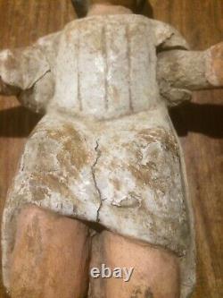 Ancien 18 eme siècle Statue enfant jésus nativité crêche noël 32 cm bois enduit