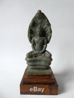 Ancien BRONZE KHMER BOUDDHA SOUS LE NAGA 13ème 14ème CAMBODGE Statue