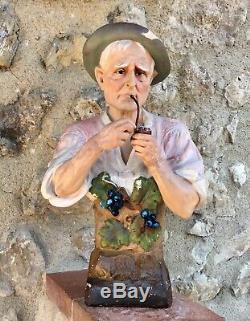 Ancien BUSTE PLTRE POLYCHROME ART NOUVEAU UNE PIPE BIEN BOURRÉE signé CAPALDO