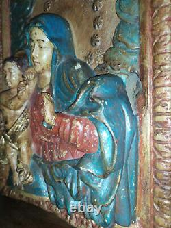 Ancien Bas-relief Vierge a l'enfant en bois Polychromé xv xvi eme siecle