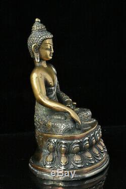 Ancien Bouddha Bronze Statue Tibetan Chinese Buddha sculpture silver