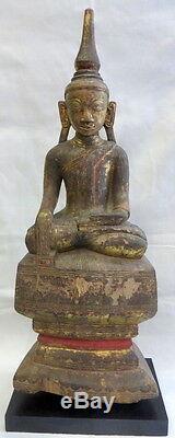 Ancien Bouddha en Bois doré Birmanie Asie Bouddhisme Religion vers 1900