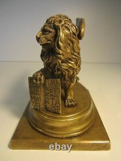 Ancien Bronze Animalier Lion Aile Saint Marc 1.7 Kilos/venise Italie/statuette