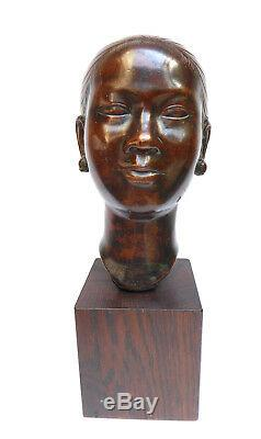 Ancien Bronze Femme Indochinoise Art Déco école des beaux arts c. 1910-1930