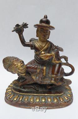 Ancien Bronze Népalais Divinité Damchen Lion Népal Bouddhisme 19ème