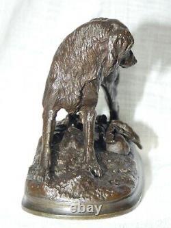 Ancien Bronze Setter en action sur un lapin Jules MOIGNIEZ 1835-1894 XIXe