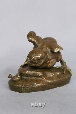 Ancien Bronze Signé C. MASSON Oisillon À L'escargot Animalier Circa 1880