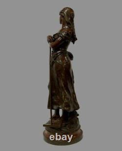 Ancien Bronze Signé Hippolyte Moreau Le Soir Fondeur Société des Bronzes Paris