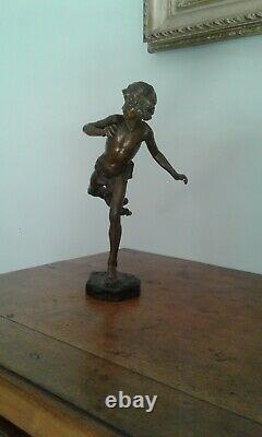 Ancien Bronze XIXème. Hippomene Jean Antoine INJALBERT (1845-1933)