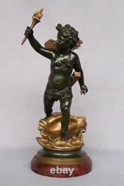 Ancien Bronze doré et Patiné Signé CLODION Cupidon Napoléon Mythologique