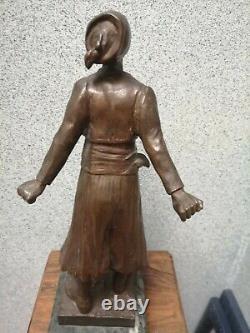 Ancien Bronze orientaliste signé de George Flamand Tirez d'abord les gars