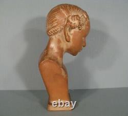 Ancien Buste De Femme Fleur Faunesse Bacchante Signé Piron Éditeur Susse Frères