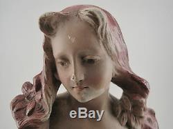 Ancien Buste Jeune Femme Plâtre Polychrome ART NOUVEAU Signé Numéroté woman bust