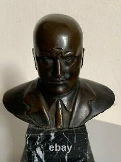Ancien Buste bronze Benito Mussolini sur marbre Giorgio Rossi Duce bust 1930