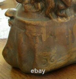 Ancien Buste en terre cuite Vers 1900 superbe enfant penseur numéroté 562