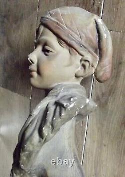 Ancien Buste statue Jeune Garçon Plâtre à restaurer signé relions croyance etc