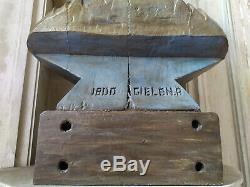 Ancien Grand Buste de Jeanne D'arc en bois polychromé 18ieme siecle estampillé