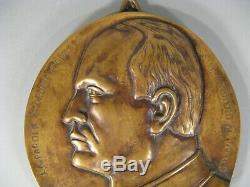 Ancien Grand Médaillon Bronze Portrait Buste Bas Relief Benito Mussolini Duce