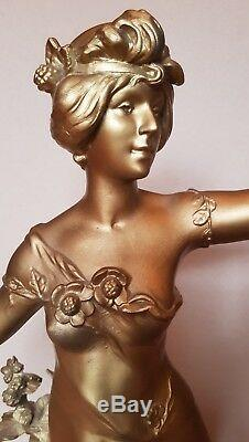 Ancien Grand Regule 68cm Auguste Moreau Fruit d'Automne Statue Art Sculpture XIX