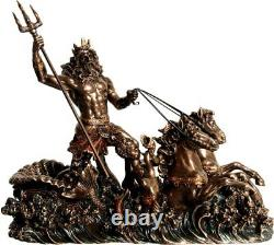 Ancien Grec Dieu De The Mer Poseidon / Neptune Froid Fonte Bronze Statue 19x26cm