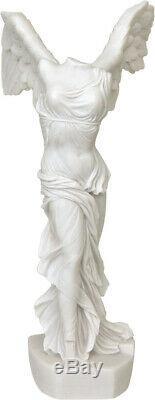 Ancien Grec Nike De Samothrace Albâtre Statue/Sculpture 38cm/15inches