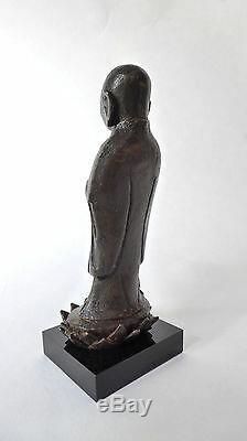 Ancien MOINE Chinois Bronze Fleur de Lotus Dynastie MING XVIIe CHINE Asie