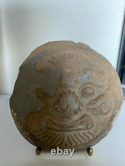 Ancien Masque Précolombien Maya avec représentation Rare terre cuite Terracotta