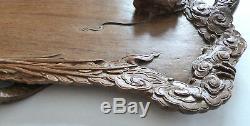 Ancien Plateau Bois Thé Dragons Sculpture Indochine Bac Ninh Tuc son 1932