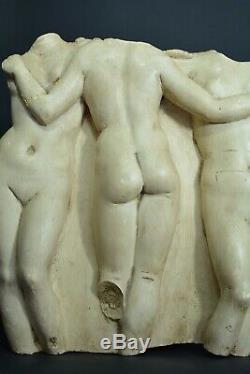 Ancien Plâtre Sculpture Femme nue 3 graces antique Rodin Lorenzi louvres Vénus