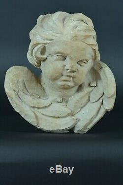 Ancien Putti Tête d'ange Ailé Bois sculpté Baroque d'époque 17e Déco Carved wood