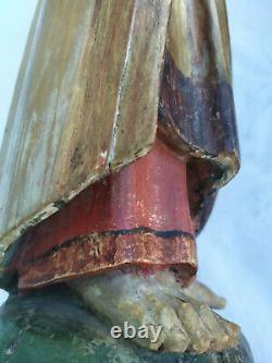 Ancien Saint-Jean en bois doré et Polychromé xvieme siecle