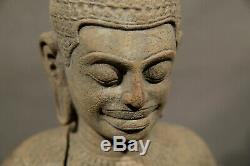 Ancien Sculpté Pierre Tibétain Statue Sculpture Bouddha Chinois Asiatique Art