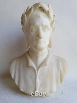 Ancien Sculpture Statue Buste Portrait Dante Alighieri Albatre Carved Alabaster