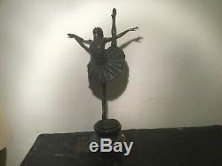 Ancien Sculpture grande taille danseuse Bronze Signé E. Degas