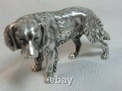 Ancien Statue Chien Chasse Vénerie Sculpture Animaliere Argent Massif Dog Silver