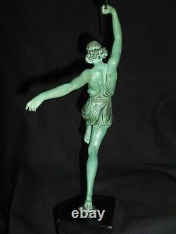 Ancien Statue Sculpture Femme Pierre Le Faguays Fayral Danseuse A La Lance 1930