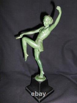 Ancien Statue Sculpture Femme Pierre Le Faguays Fayral Danseuse Au Tambourin