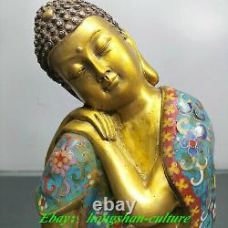 Ancien Tibet Bronze Doré Cloisonné Émail Statue Bouddha Sakyamuni