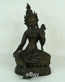 Ancien Tibet Népal Bronze Bouddha De Un Assis Tara Sculpture Statue 19 Siècle