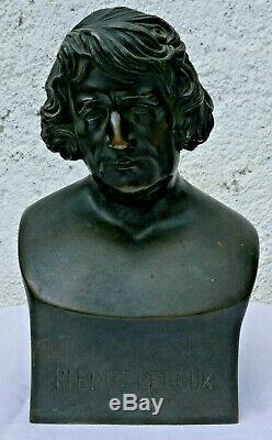 Ancien bronze PIERRE LEROUX signé ETEX 1834 H 24cm P. S. Socialisme George SAND