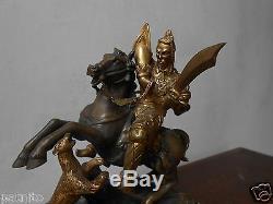 Ancien bronze. Statuette cavalier asiatique. Statue XIXème. Antique bronze