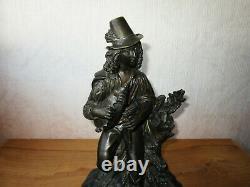 Ancien bronze XIXe troubadour breton joueur de biniou cornemuse sculpture statue